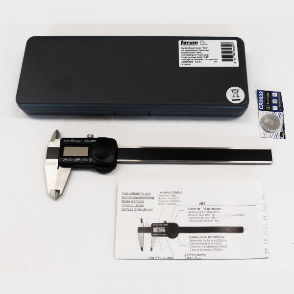FORUM digitaler Messschieber Taschenmessschieber ABS 150 mm mit Daten & Batterie