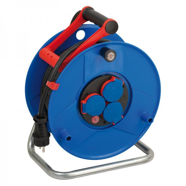 Garant IP44 Gewerbe-/Baustellen-Kabeltrommel mit 25m Kabellänge in der Farbe blau