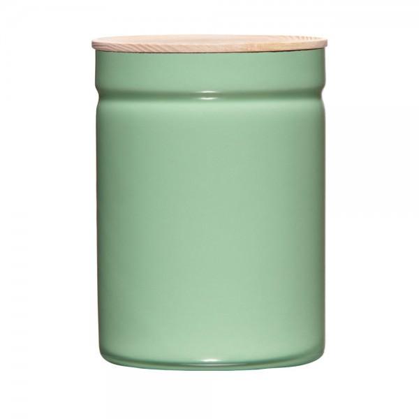 Riess 18x13cm 2250ml Vorratsdose Emaille mit Holzdeckel slow green Aufbewahrung