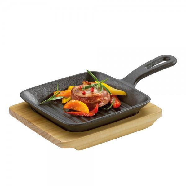 Küchenprofi BBQ Grillpfanne 23 x 13,5 x 5,5 cm Servierpfanne mit Holzbrett