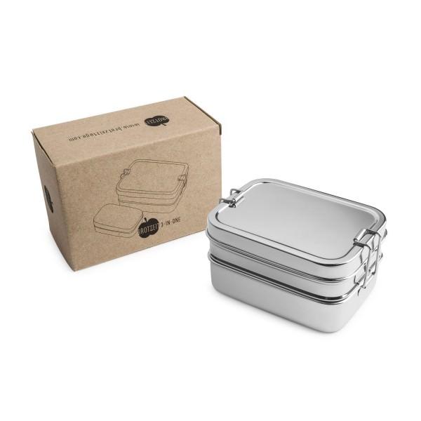 Brotzeit Lunchbox Edelstahl 3in1 stapelbar Brotdose