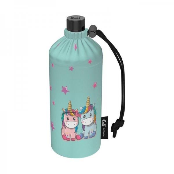 Emil die Flasche 0,4 Liter Trinkflasche mit Isolierung und Flaschenbeutel - Unicorns/Einhorn