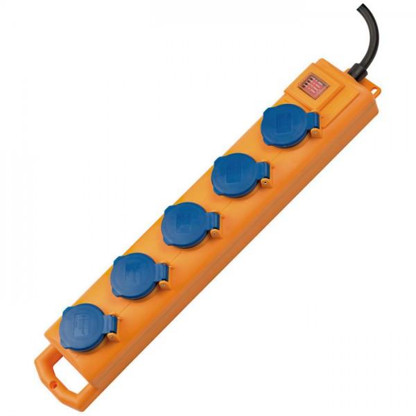 Super-Solid SL 554 Steckdosenverteiler 5-fach mit Schalter in der Farbe gelb