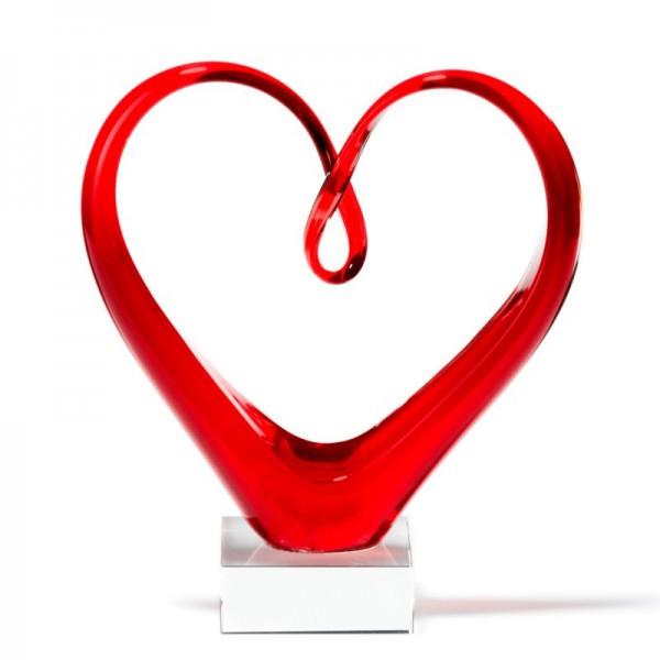 Leonardo 090871 Skulptur Heart rot 24cm Herzform Schwere Glasqualität auf stabilem Sockel