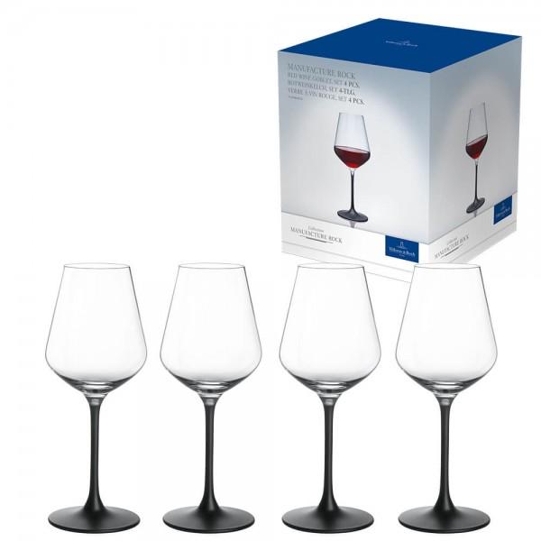 Villeroy & Boch 4er Set 470ml Rotweinglas Manufacture Rock Kristallglas