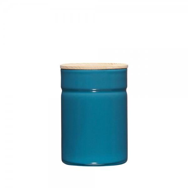 Riess 12x8cm 525ml Vorratsdose Emaille mit Holzdeckel silent blue 02172-200