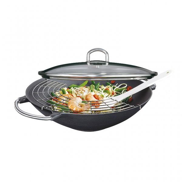Küchenprofi Wok-Set Premium 36,6cm Wok inklusive Glasdeckel, Gittereinsatz und Wender