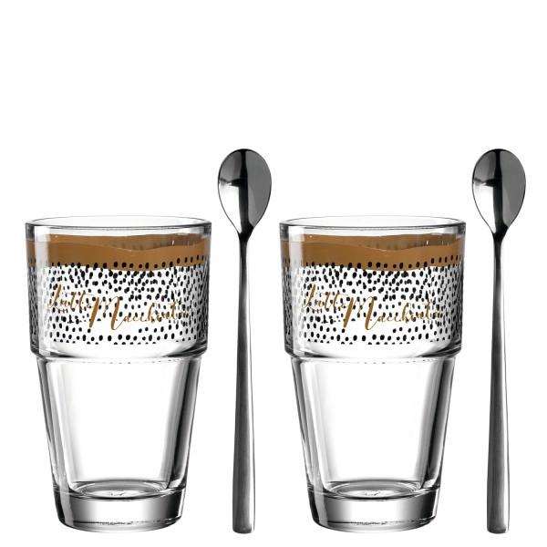Leonardo 2er Set mit zwei 410ml Glas Bechern Latte Macchiato Solo mit 2 Löffeln 043478