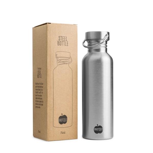 Brotzeit 750ml Trinkflasche Edelstahl plastikfrei Edelstahlflasche