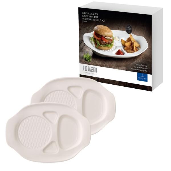 Villeroy & Boch 2er-Set Burger-Teller Passion BBQ Porzellan