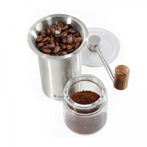 Zassenhaus 21cm Kaffeemühle Handmühle Barisa Edelstahl Glas 041170