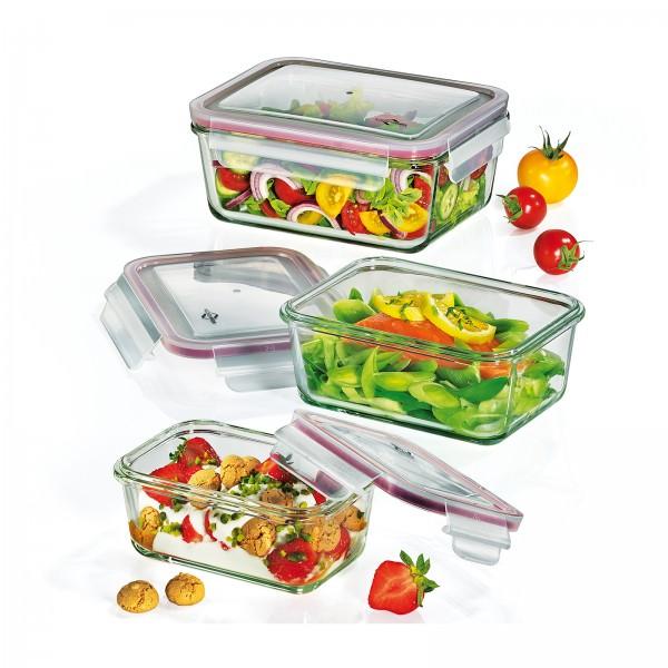 Küchenprofi 3-teiliges Lunchbox Vorratsdosen-Set Glas rechteckig 1001753503