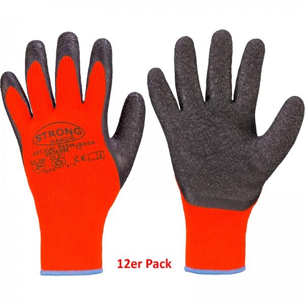 Stronghand 12er Set Strick Handschuh Rasmussen Latex teilbeschichtet