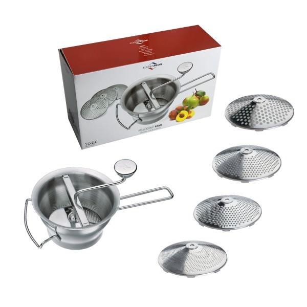 Küchenprofi Passiergerät PROFI mit vier Scheiben aus Edelstahl
