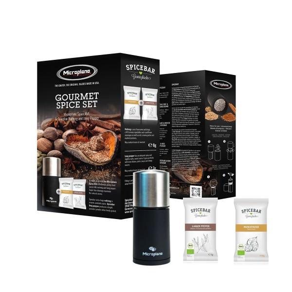 Microplane Gourmet Spice Set mit Muskatmühle Edelstahl mit Spicebar Muskatnüssen & Langem Pfeffer