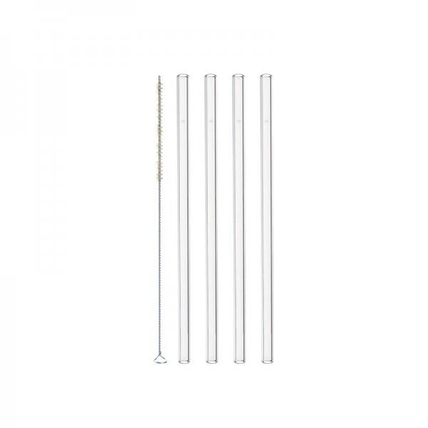Leonardo 20855 Glastrinkhalme CIAO 4er-Set 20 cm mit Bürste