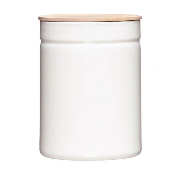 Riess 18x13cm 2250ml Vorratsdose Emaille mit Holzdeckel weiß Aufbewahrung