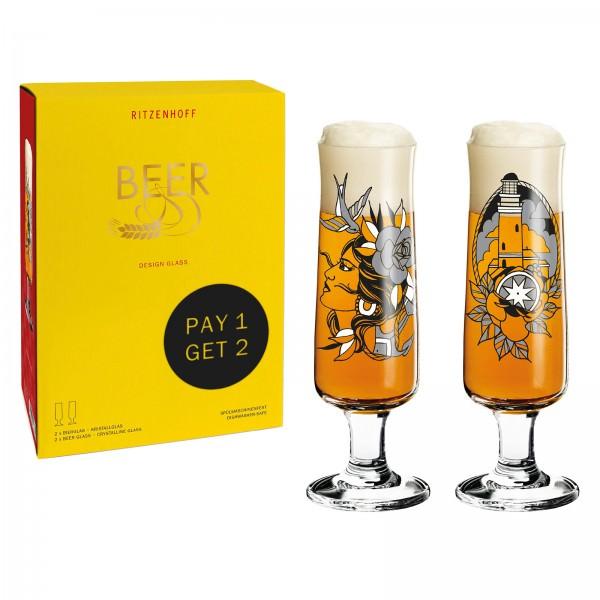Ritzenhof 1 + 1 GRATIS 390ml Beer Bierglas-Set Tobias Tietchen 6061003 Limited