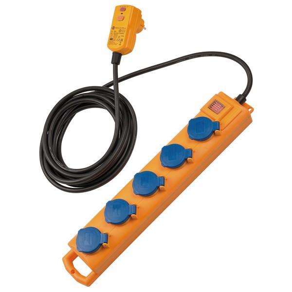 Super-Solid SL 544 D FI Steckdosenverteiler 5-fach mit FI-Stecker und Schalter in der Farbe gelb