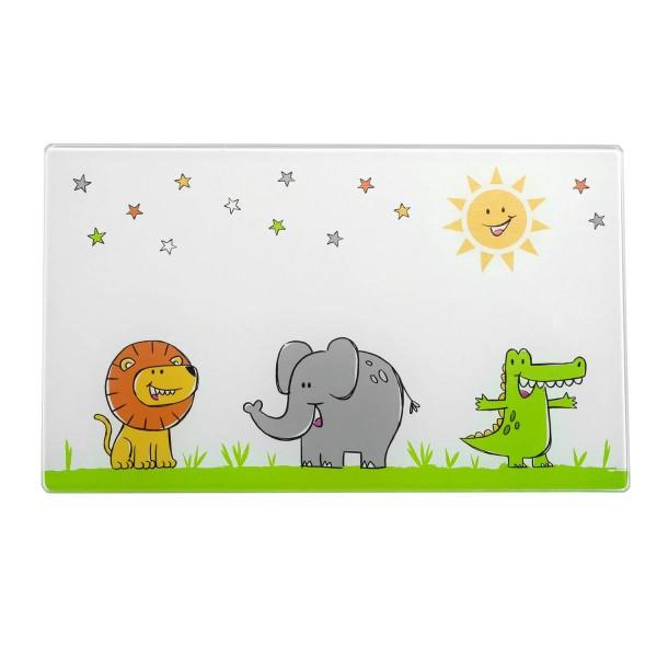 Leonardo 25x15cm Brettchen Glas BAMBINI Löwe/Elefant/Krokodil Hauptbild
