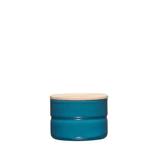 Riess 8x6cm 230ml Vorratsdose Emaille mit Holzdeckel silent blue