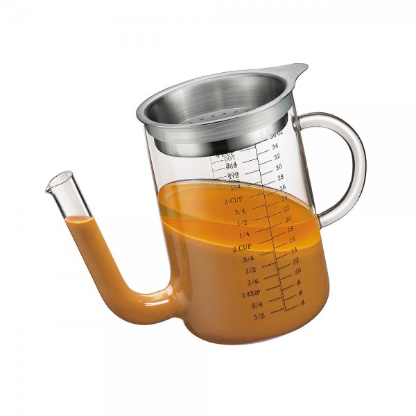 Küchenprofi 1L Fett-Trennkanne Glas mit Edelstahlsieb