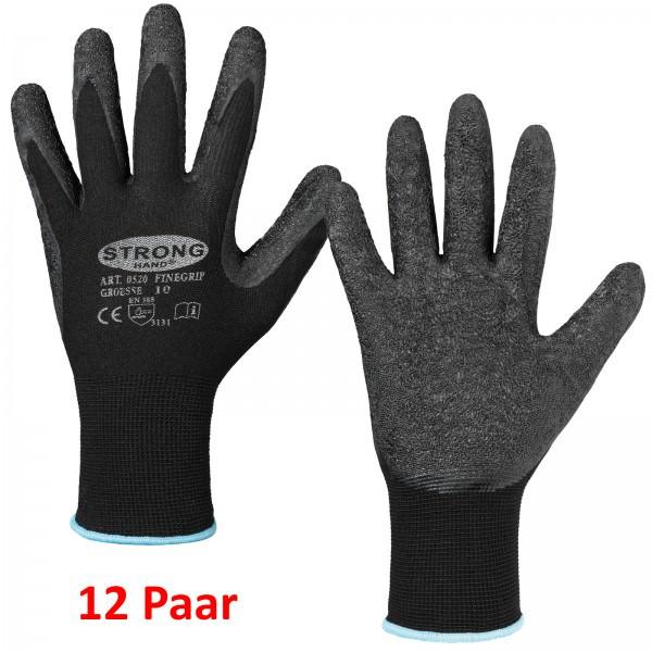 Stronghand 12er Pack Feinstrick Handschuh Latexbeschichtung