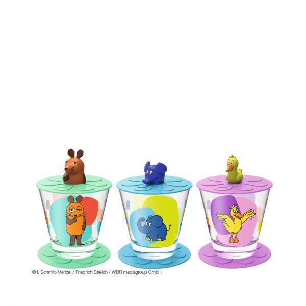 Leonardo 9-teiliges Kindertrinkset Sendung mit der Maus mit Trinkglas Untersetzer und Deckel 021457