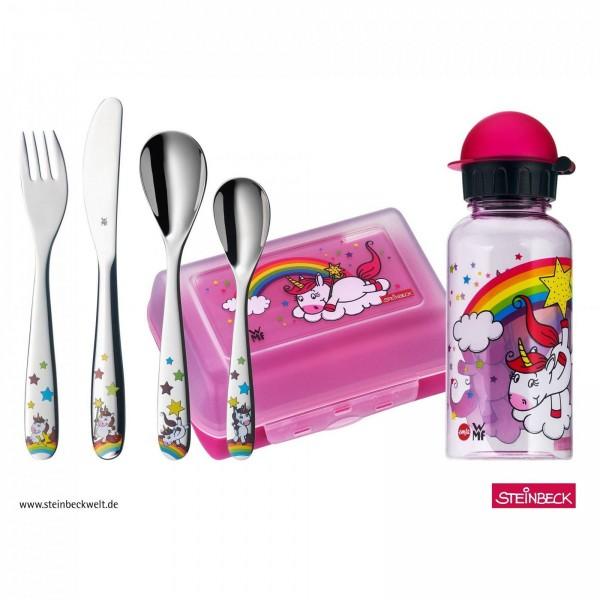WMF 6-teilig Einhorn Kindebesteck-Set Edelstahl mit Brotdose und Trinkflasche