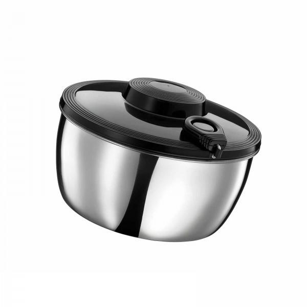 Küchenprofi 25cm Salatschleuder Edelstahl schwarz mit Zug