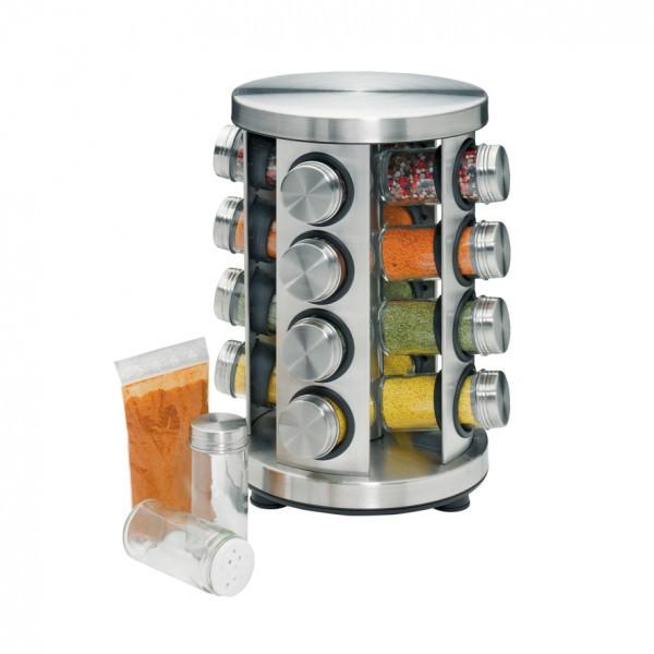Küchenprofi Gewürzständer 30,8x20cm mit 16 Gläsern rund Edelstahl
