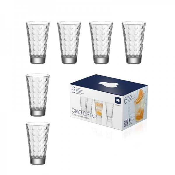 Leonardo 012684 6er Set Wasserglas groß Ciao Optic 300ml Long Drink