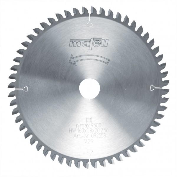 Sägeblatt-HM 160 x 1,2/1,8 x 20 mm, Z 56, FZ/TZ, für Feinschnitte in Holz 092553