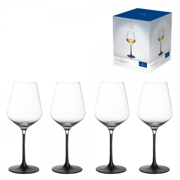 Villeroy & Boch 4er Set 380ml Weißweinkelch Manufacture Rock Kristallglas Weißweinglas