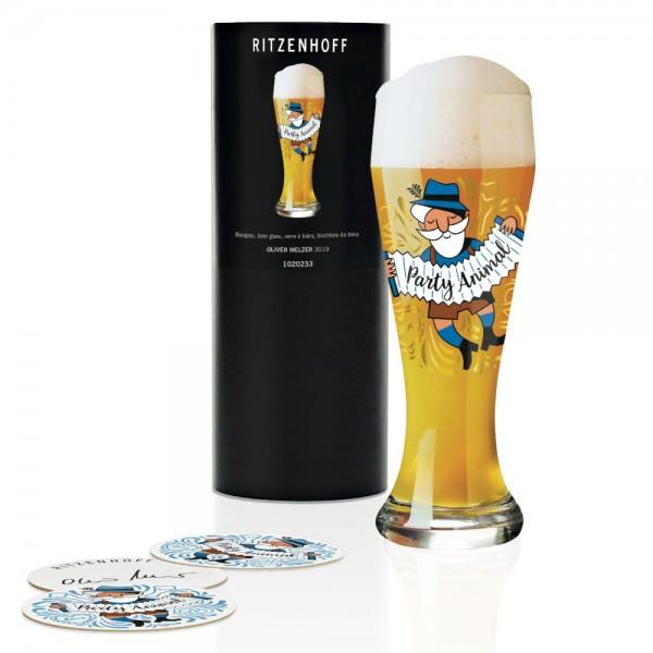 Ritzenhoff Weizenbierglas 500ml Oliver Melzer 2019 inklusive 5 Bierdeckel