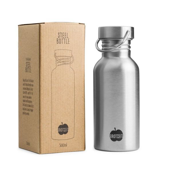 Brotzeit 500ml Trinkflasche Edelstahl plastikfrei Edelstahlflasche