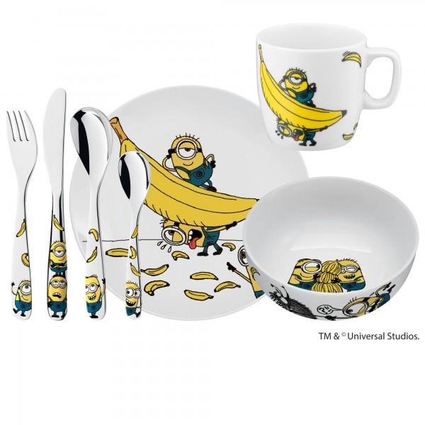 WMF 7-teiliges Minions Kinderbesteck-Set mit Schale Tasse und Teller