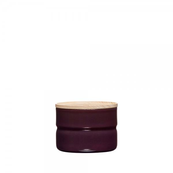 Riess 8x6cm 230ml Vorratsdose Emaille mit Holzdeckel dark aubergine 2171-201 Aufbewahrung