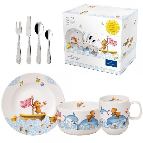 Villeroy und Boch 7-teiliges Kindergeschirr Set Happy as a Bear Porzellan Kinderbesteck. Produktbild.