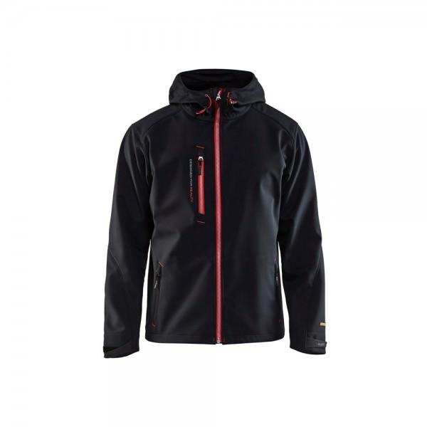 Blakläder 494925179956 Softshell Jacke mit Kapuze schwarz rot