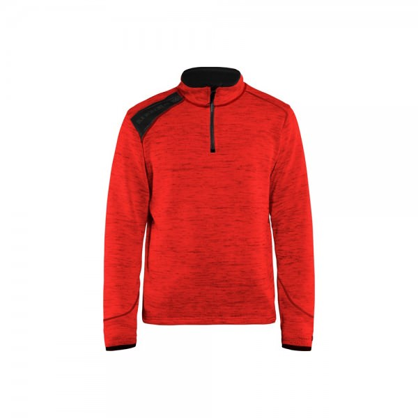 Blakläder 494321175699 Strickpullover Half Zip Rot schwarz
