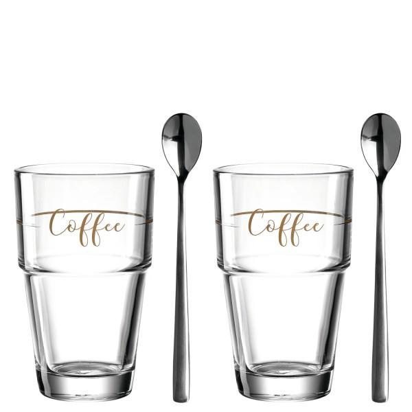 Leonardo 2er Set mit zwei 410ml Glas Bechern Coffee Solo mit 2 Löffeln