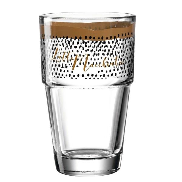 Leonardo 410ml Becher SOLO Latte Macchiato Aufdruck 043470 schwarz