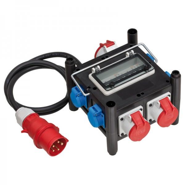 Gummi-Stromverteiler mit Qualitätssteckdosen, stabilem Metalltragegriff, zertifizierten Sicherungsautomaten und ölbeständigem Kabel