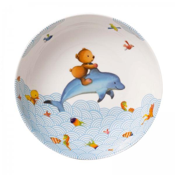 Villeroy und Boch 19cm tiefer Kinderteller Happy as a Bear Porzellan. Suppenteller.