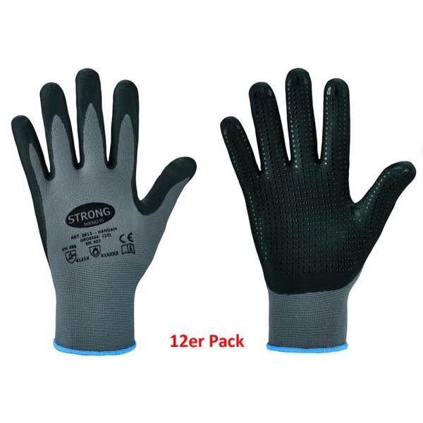 Stronghand 12er Set Feinstrick Handschuh HANDAN Nitrilschaumbeschichtet Noppen 0613