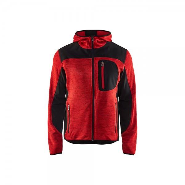 Blakläder 4930 2117 Herren Strickjacke mit Softshell-Verstärkungen Kapuze Rot Schwarz