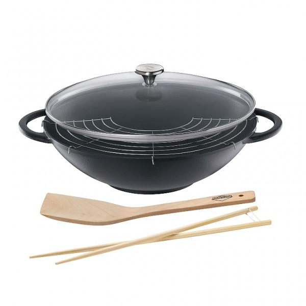 Küchenprofi Wok-Set Prestige schwarz 36cm mit Glasdeckel inklusive Zubehör