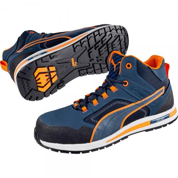 Puma 633140 Crosstwist Mid S3 HRO SRC Sicherheitsschuh Männer blau orange 41-46
