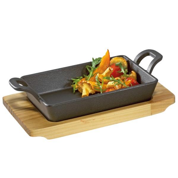 Küchenprofi BBQ 22x13x6cm Servierpfanne eckig mit Holzbrett